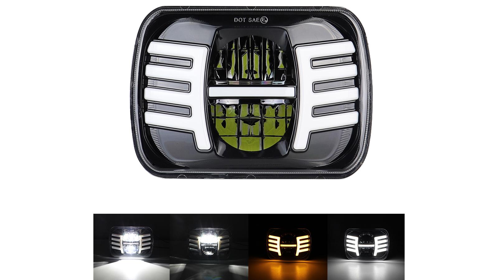 5x7 '' 7x6 '' faro del LED Hi-Lo Wing DRL lampada Per Jeep Cherokee XJ Wrangler YJ
