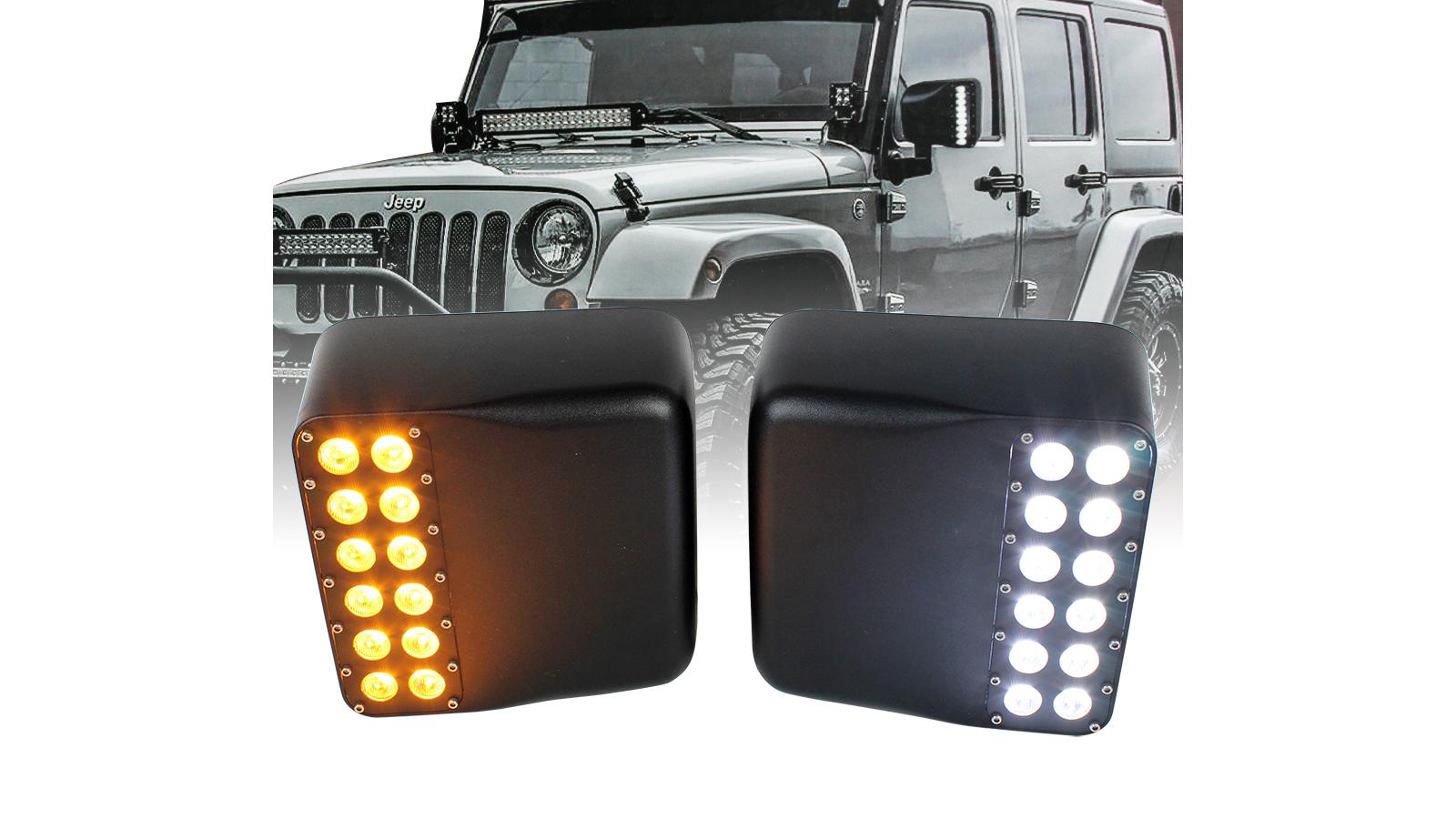 For 2018-2019 Jeep Wrangler JL Floodlight LED Amber Turn Signal Side Mirror Light DRL