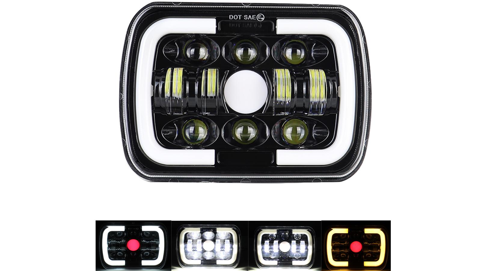 """Più luminoso 5x7 """"7x6 pollici rettangolo LED faro DRL Segnali di svolta per Toyota Pickup Truck"""