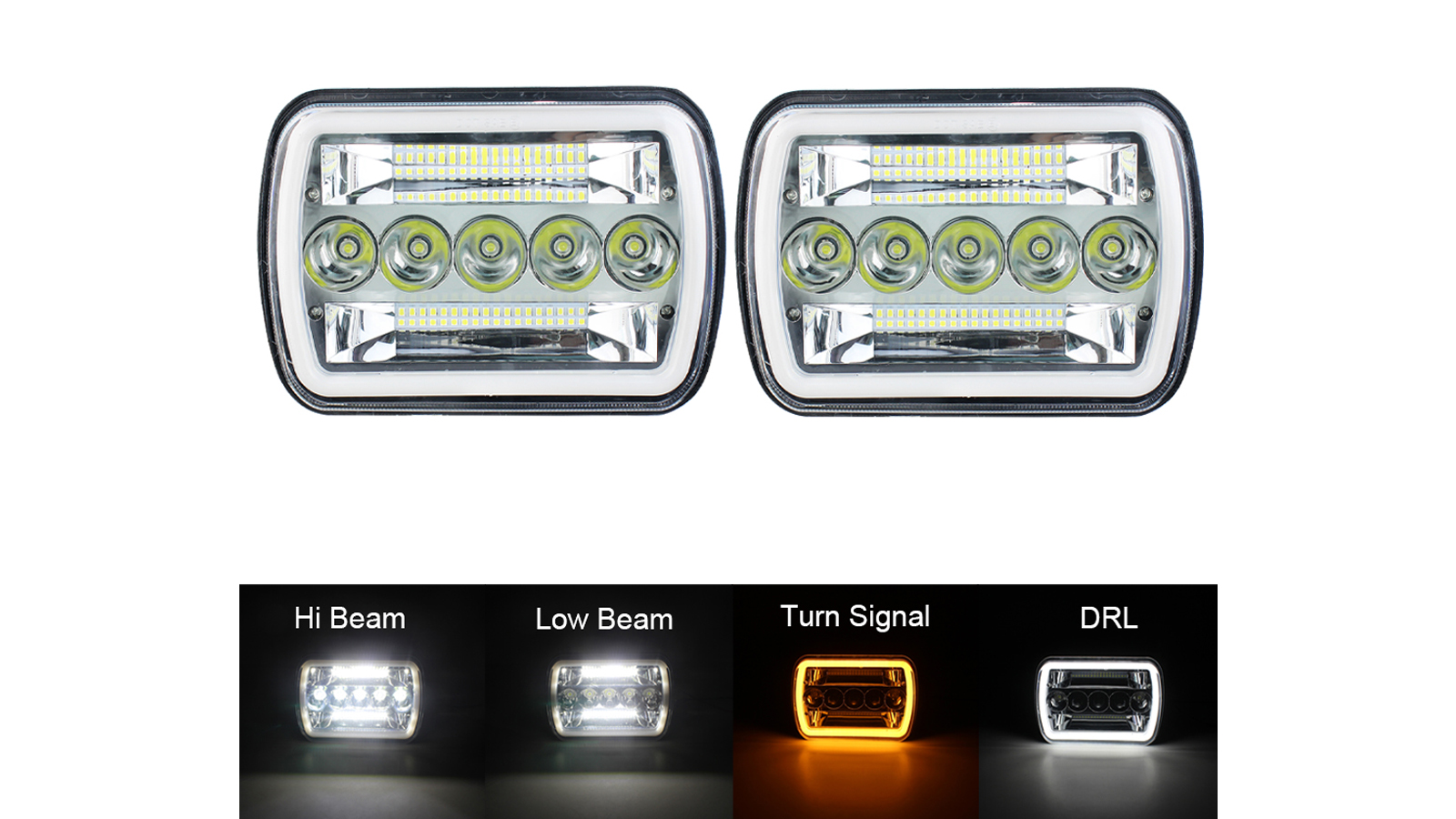 "Commercio all'ingrosso 7x6 5x7 ""pollici LED fari Hi / Low Sealed Beam Bianco DRL Amber Amber Signal Turn Fit For Jeep TJ JK Cherokee XJ YJ"