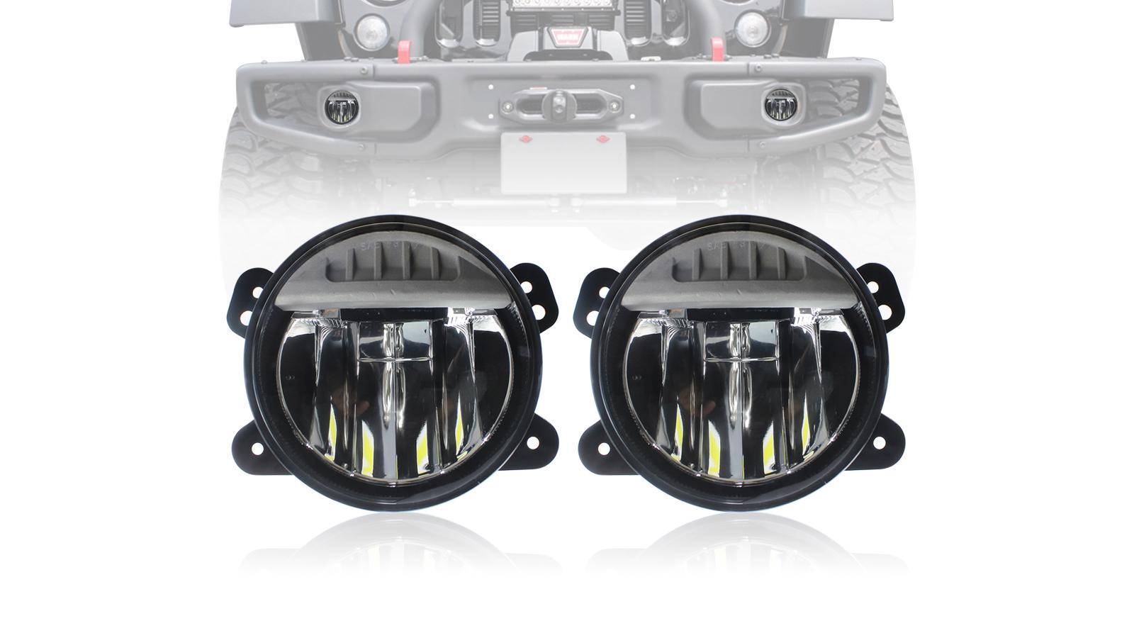 4 inch LED Fog Lights Assembly Kit Bumper Lamps for Jeep Wrangler JL 2018-2020