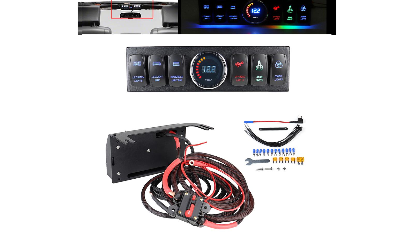 SET 6Pod Rocker Switch Panel Blue Light For 2007 2008 2009-2016 2017 2018 JK JKU