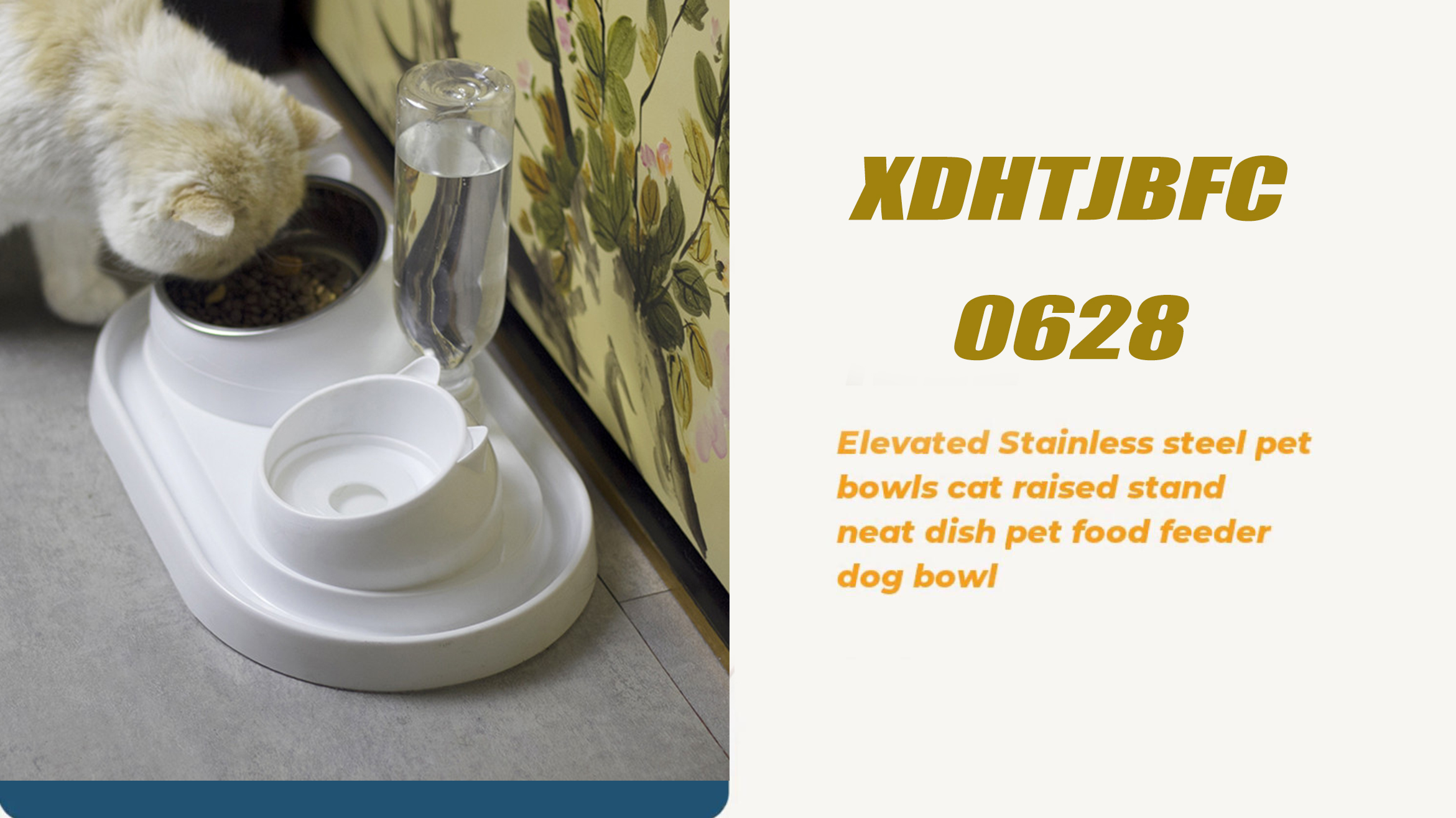 Beautiful Ear Shape Automatic High Capacity Feed Drink Forage Pet Dog Two Bowls
