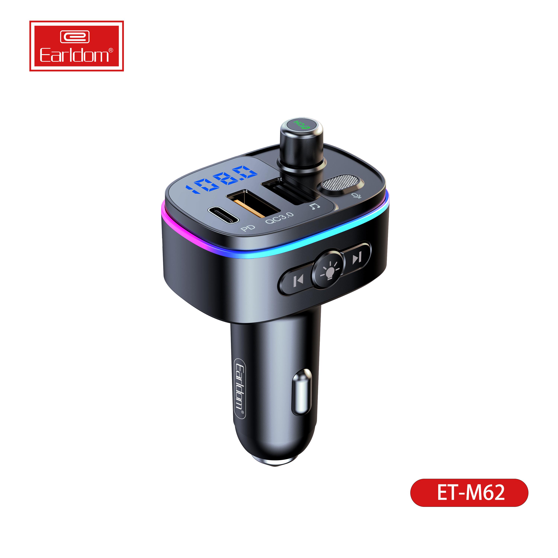 Earldom M62 متعدد الألوان المحيط LED ضوء مشغل MP3 3 منافذ QC3.0 + PD USB-C سريع الهاتف FM الارسال شاحن سيارة