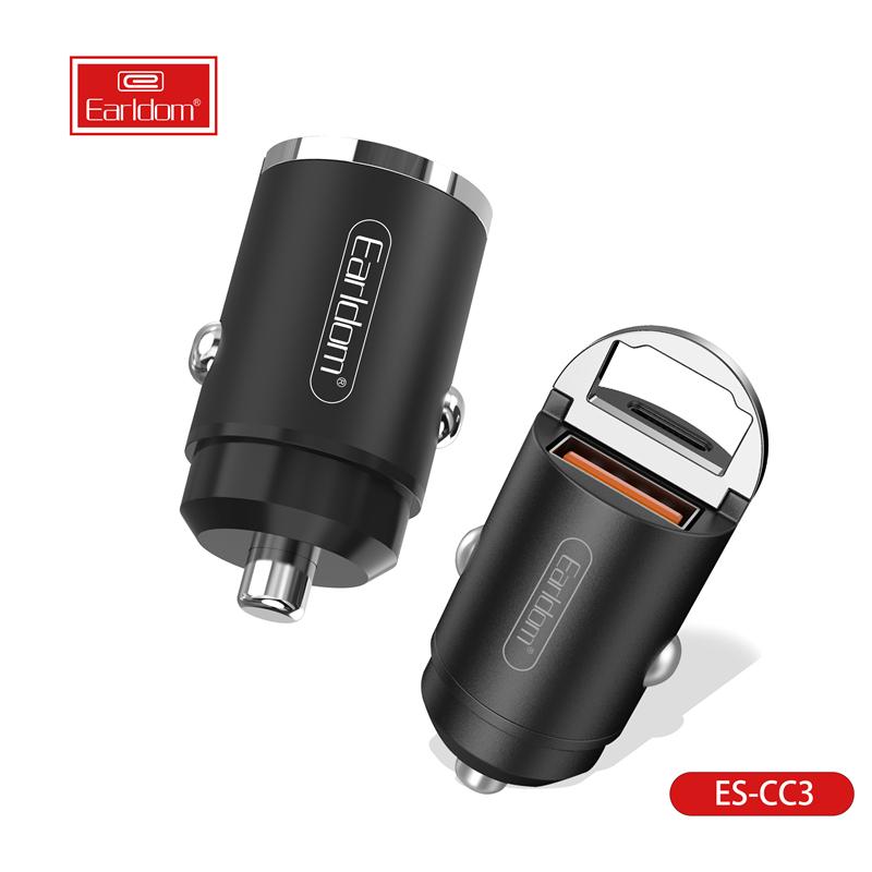 Kualitas terbaik earldom PD cepat biaya 45W QC4.0 charger ponsel USB-C kecil untuk mobil dengan cincin pabrik