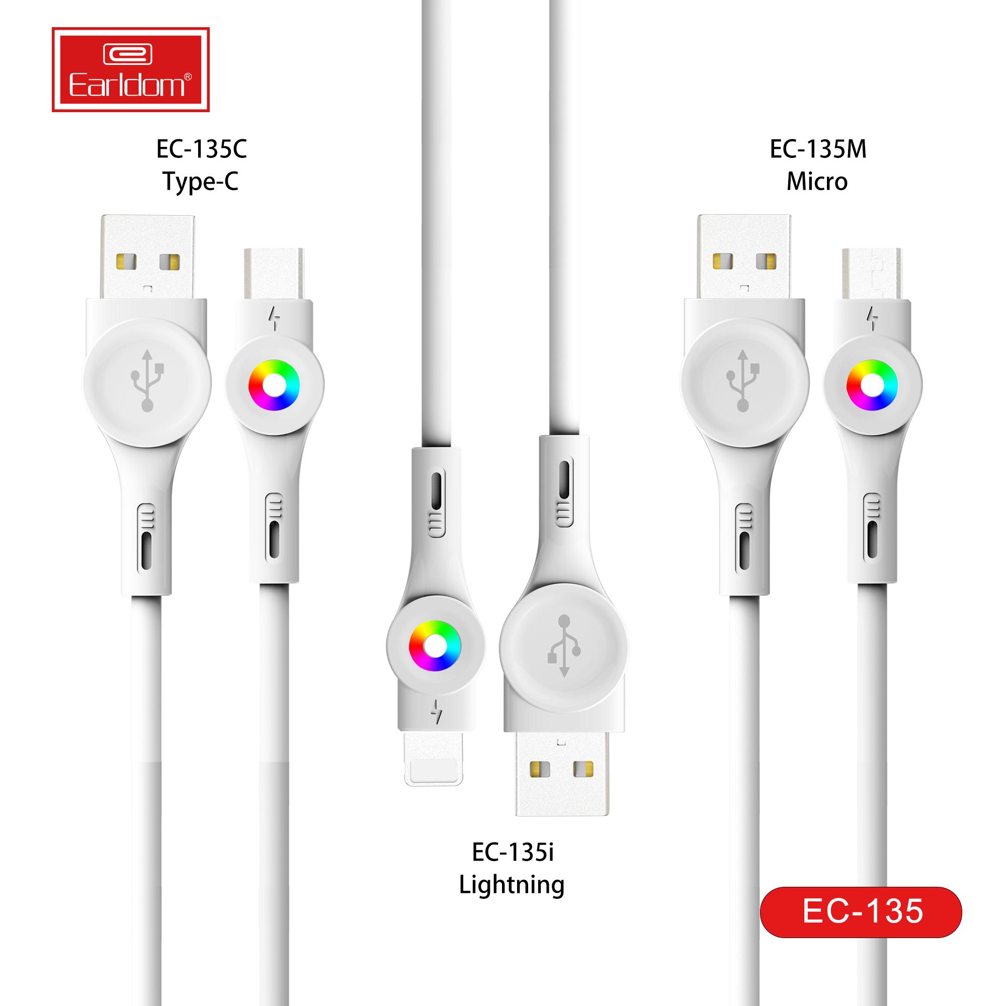 EARLLDOM-Ladekabel Bunte Glühdatenkabel Schnelle USB-Kabel-Leuchtdatenlinie Elektronik-LED für Handy